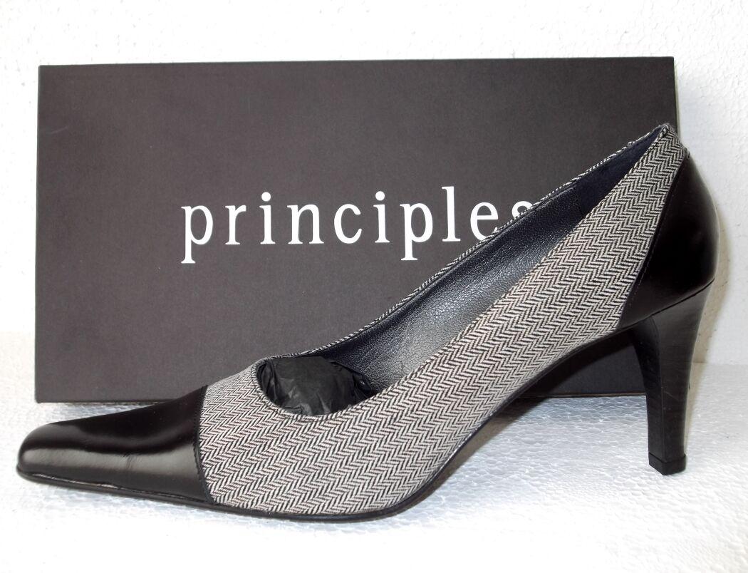 Nouveaux principes en cuir noir & Herringbone Tweed tribunaux Made Made Made in  Taille UK 6 d87438