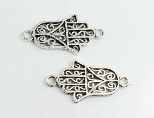 4 conector Hamsa Antik plata khamsa pulsera fabrican mano de Fatima 28 x 15