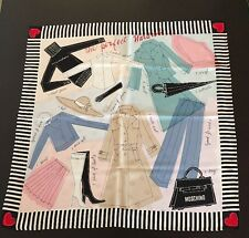 """Moschino Silk Scarf Hand rolled Italy 34"""" Square"""