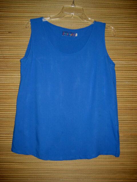"Jams World Hawaii Aloha rayon sleeveless Top Tank ""Bahama Blue"" Medium M"