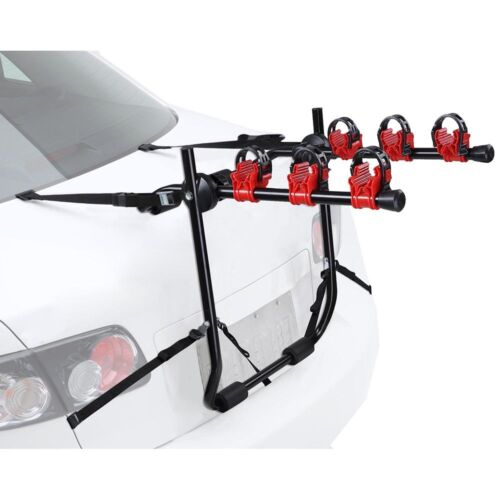 3 Bike Bicycle Carrier Car Truck SUV Foldable Trunk Mount Rear Rack w// Straps US