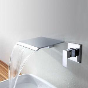 Beau Waterfall Spout Bathroom Basin Bath Tub Faucet Wall Mounted ...