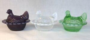 Mosser-Art-Glass-Set-Of-Three-Opalescent-Hen-Chicken-Salts-Made-In-USA