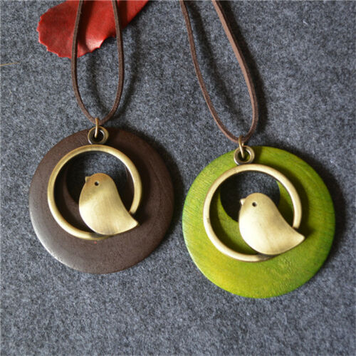 Women Fashion Metal Bird Charm Round Wooden Pendant PU Leather Chain Necklace