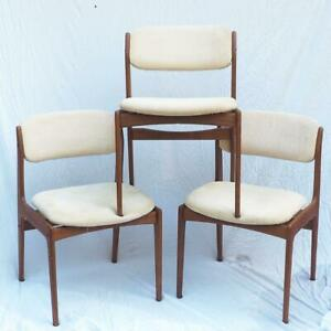 Benny Linden Danish MCM Mid Century Modern Style Teak Set of 3 Chairs