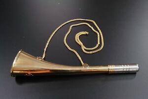 G4582: Maritimes Nebelhorn Signalhorn laute Fan Tröte mit Kette Messing 30 cm