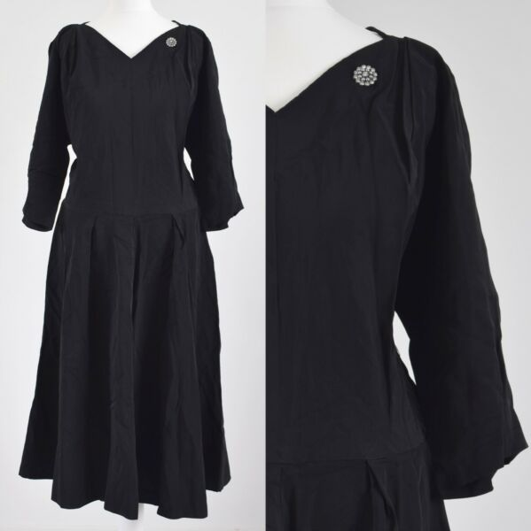 1940s Originale Vintage Nero E Diamante Dress 14-16