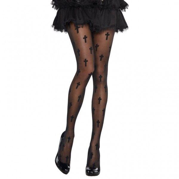 "Halloween Verkleidung Damen Strumpfhose ""Das schwarze Kreuz"" Kostüm Grusel"