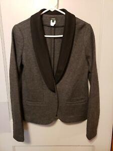 J-Crew-Gray-Wool-Blazer-Career-Black-Collar-Pockets-Back-Vent-Size-6