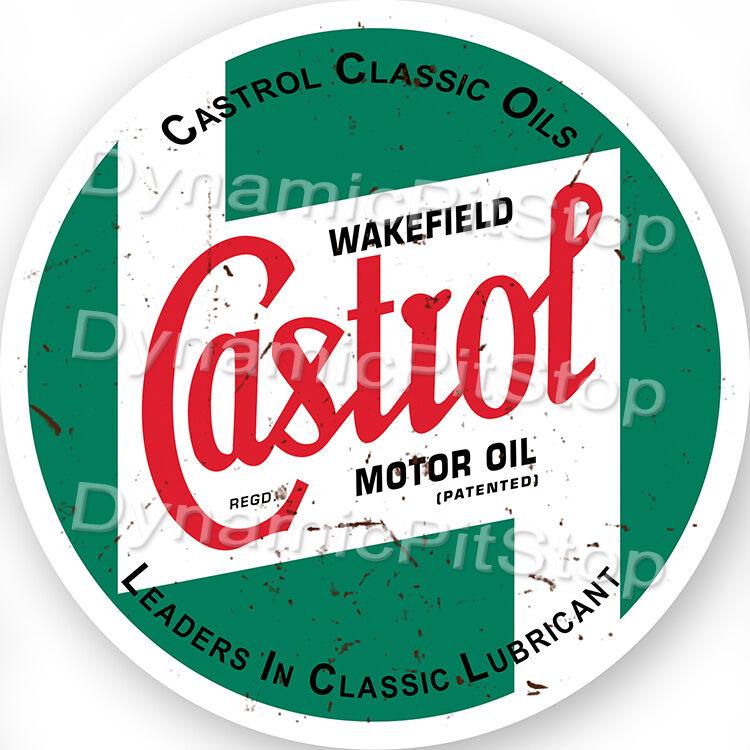 60cm Castrol Round Rustic Tin Sign