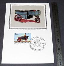 CARTE POSTALE 1er JOUR PHILATELIE 1986 AUTO BELGIQUE VOITURE IMAGE SOIE