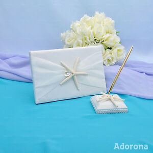 Ivory-Satin-Bow-Starfish-Polished-Shell-Beach-Wedding-Guest-Book-and-Pens-GB54b