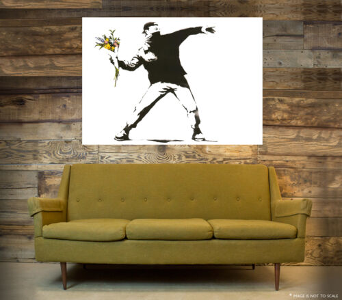 A1 - A5 SIZES AVAILABLE BANKSY FLOWER THROWER GLOSSY STREET WALL ART POSTER