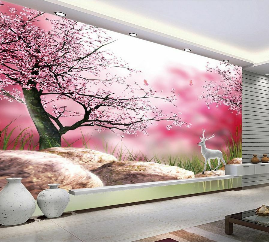 3D Blooming Pink Flowers Tree 37 Wall Paper Wall Print Decal Wall AJ Wall Paper