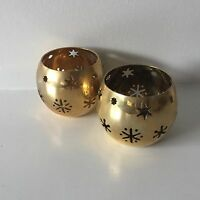 Brass Christmas Candle Holders - 1 Pair Tea Light or Votive Candle Holders