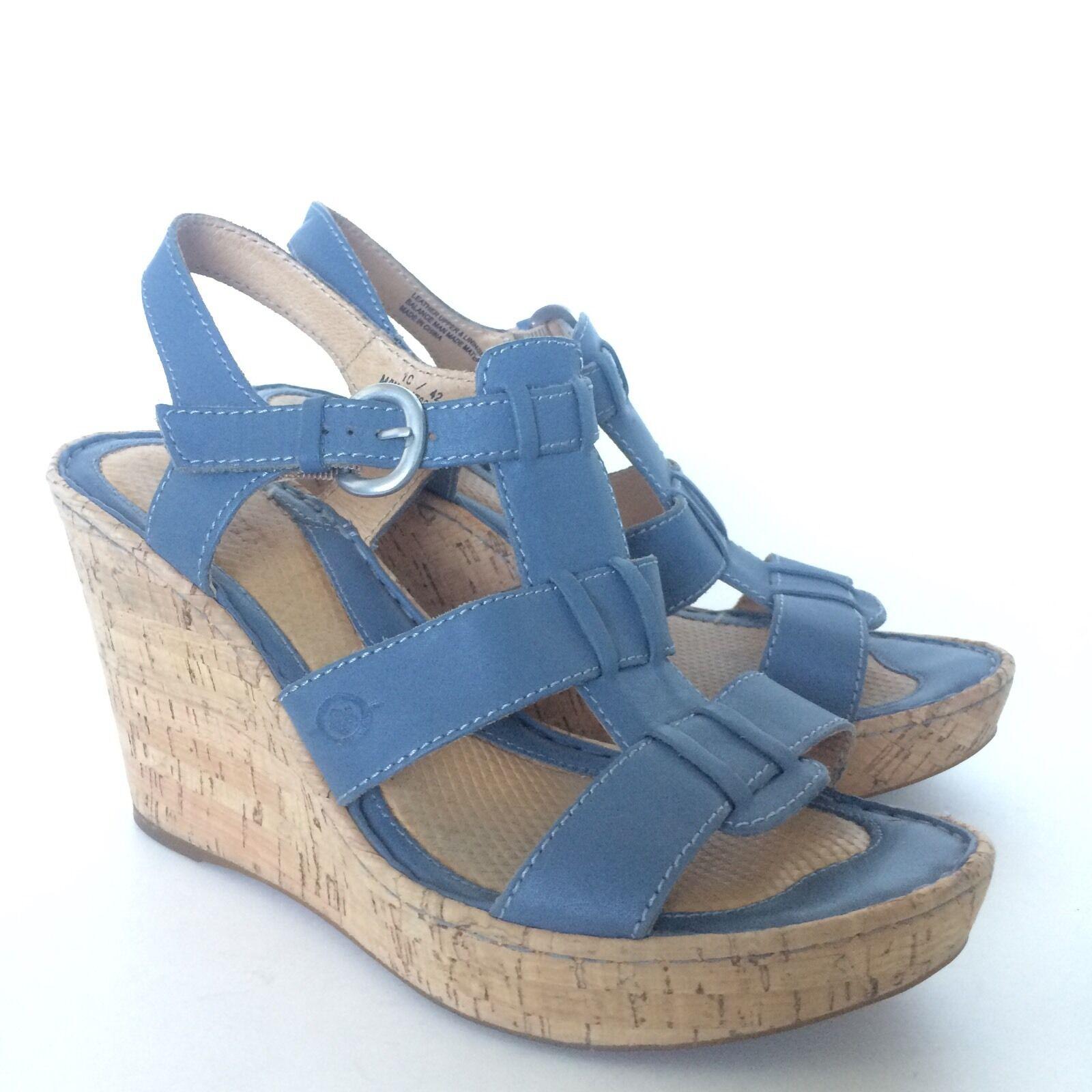 Born Womens Leather Platform Wedge Sandals Sandals Sandals Size 10 EUR 42 Comfort shoes 4a35f6
