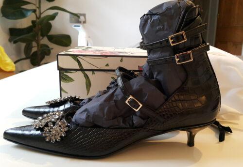 in Erdem Eu Scarpe H decorata m Black Uk 6 in 40 con pelle X 5 coccodrillo pelle q8qHA