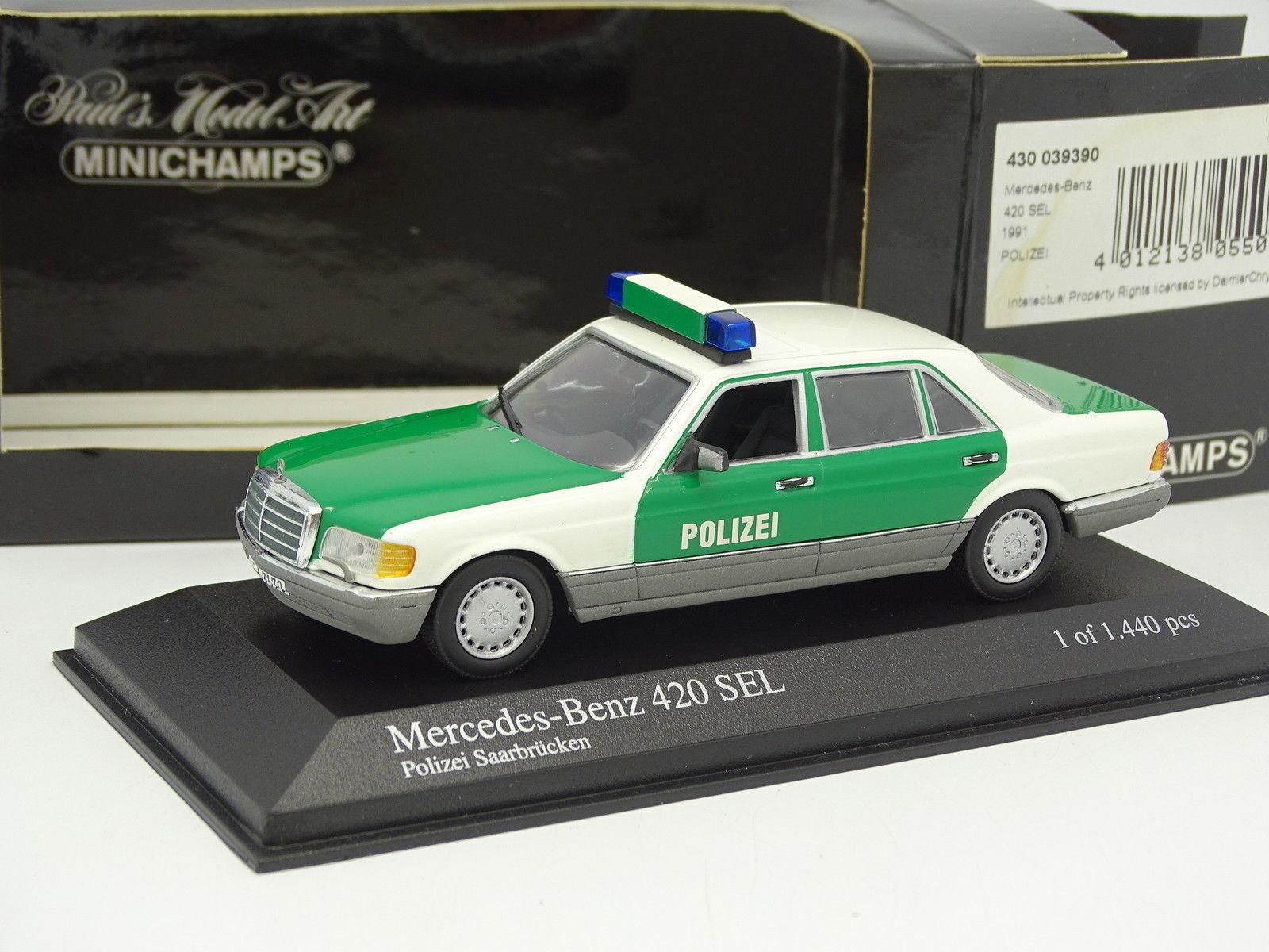 Minichamps 1 43 - Mercedes 420 SEL Polizei Saarbrucken