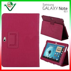 Pellicola-Custodia-pelle-FUCSIA-con-STAND-per-Samsung-Galaxy-NOTE-10-1-N8000