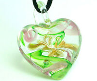 1pc heart design lampwork glass pendant necklace p007