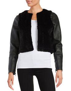 Gabby noir en Sam Nouveau Edelman veste fausse noir cuir fourrure 159 n41Ywzqa