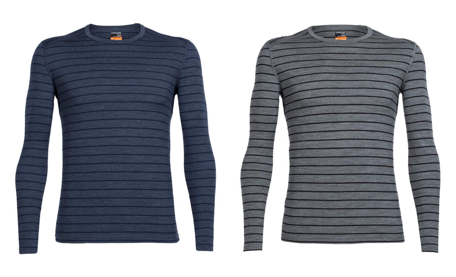 Icebreaker Mens Oasis Long Sleeve Crewe Stripe - Versatile Sports Shirt 200g M ²