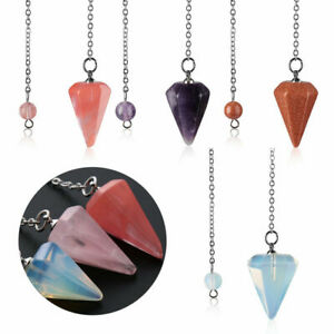Crystal-Gemstone-Quartz-Pendulum-Healing-Dowsing-Reiki-Chakra-Pendant-Chain
