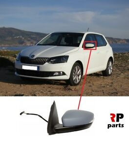 Left Passenger Side Heated Electric Wing Mirror Glass for SKODA FABIA 2007-2014