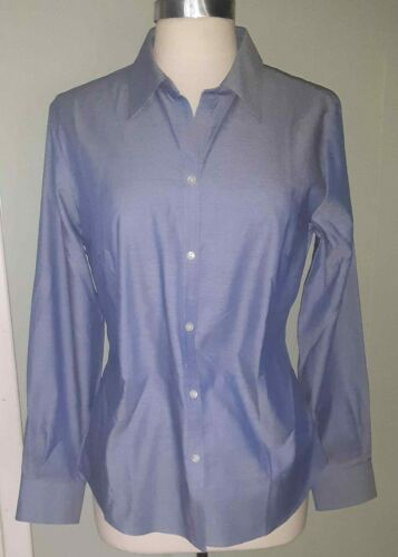 Cutter and Buck Shirt Button-Front Sz L Solid Blue