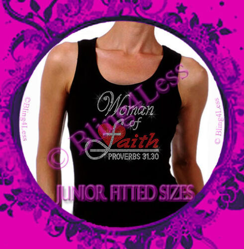 RED Iron on Rhinestone Tank Top Bling Christ Jesus God Shirt Woman of Faith