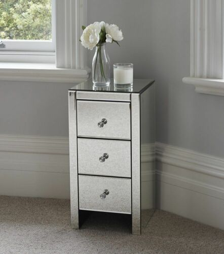 Mirrored Furniture Glass 3 x Drawers  Bedside Cabinet Table Bedroom UK