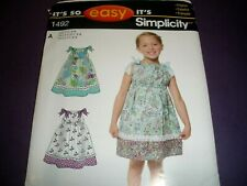 "Simplicity 1475 Girls Sz 3-8 Dress Top Pants Shorts Bag 18"" Doll Sewing Pattern"