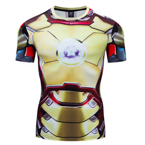 Superhero-Marvel-Ironman-Costume-Cosplay-Compression-Tights-Quick-Drying-T-shirt