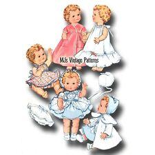 "Vtg 50s Baby Doll Dress Bonnet Pattern ~ 13/"" 14/"" Betsy Wetsy Dy Dee Tiny Tears"