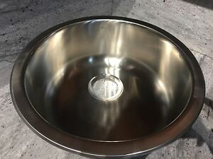 18 Round Bar Sink Undermount Topmount 18 Gauge Stainless Steel