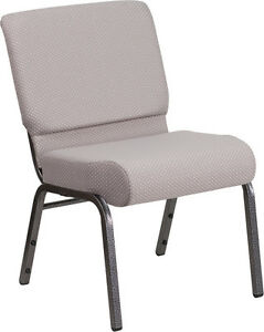 LOT OF 100 21/'/' EXTRA WIDE BLACK DOT PATTERNED FABRIC STACKING CHURCH CHAIR