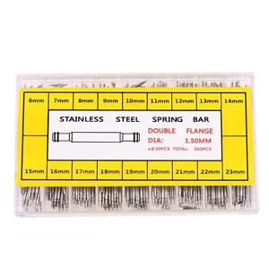 360PCS-Acciaio-Inossidabile-Cinturino-barre-a-molla-spille-alette-6-23mm