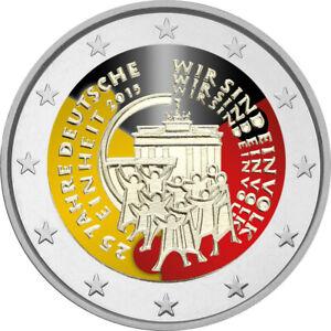 2-Euro-Gedenkmuenze-BRD-Deutschland-2015-Dt-Einheit-coloriert-Farbe-Farbmuenze