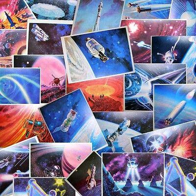 Space Art Postcard Spacecraft Satellite Art Decor paper Full Set of 32 Russian