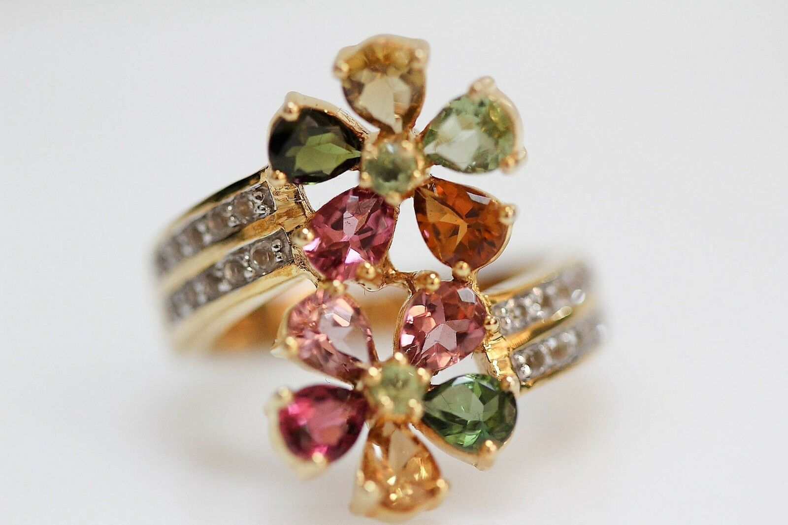 .925 Yellow Vermiel   Multicolor Tourmaline   White Topaz Flower Ring .