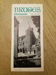VTG 1960s Bruges Belgium Tourist Brochure City Street Map Directory Zeebrugge
