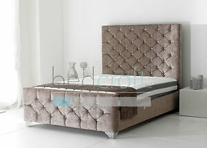 Image Is Loading Fabric Upholstered Bed Frame Diamond Ons Tall Headboard
