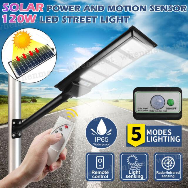 120W LED Solar Light Street Flood Light Motion Sensor Remote Garden Lamp Outdoor
