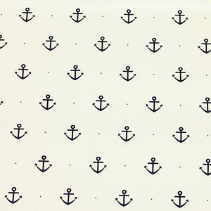 Cotton-Fabric-FQ-Nautical-Sea-Marine-Boat-Anchor-Dot-Spot-Dress-FabricTime-VK53