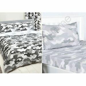 Armee-Camouflage-Gris-Double-Set-Housse-de-Couette-Drap-Housse-4-Taie