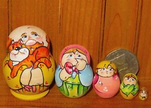 Nesting-MATRYOSHKA-dolls-Russian-Tiny-HAND-PAINTED-MINIATURE-5-Ginger-Cat-signed
