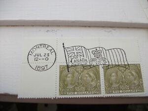 CANADA 1897 Top left corner 2x 5 Dollar $5 stampsMNH diamond jubilee gum replica