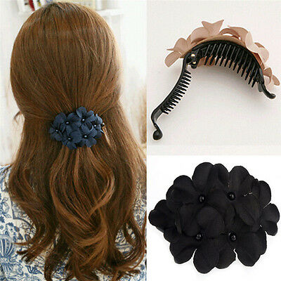 Fashion Women's Crystal Flower Rhinestone Pearl Hair Pins Hairpin Clip Barrette
