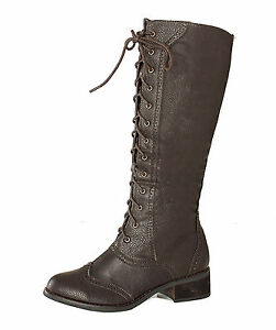 Bohemian-Combat-Knee-High-Lace-Up-Victorian-Western-Vintage-Style-Oxford-Boots