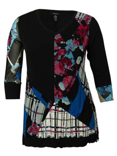 P, Melodic Mix Style /& Co Women/'s Printed Handkercheif-Hemmed Tunic Blouse